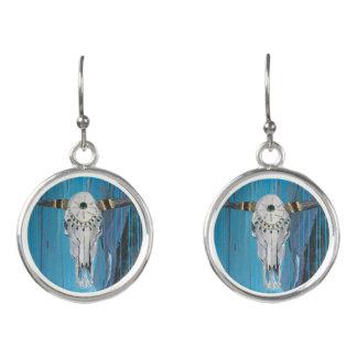 Steer Skull Drop Earrings
