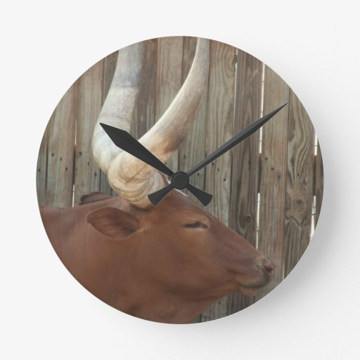 Steer With Big Horns Round Wall Clocks