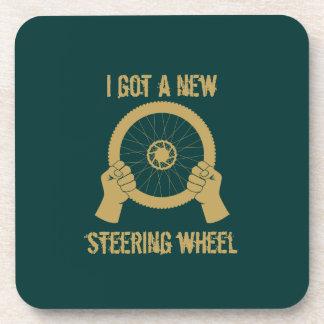 Steering wheel drink coasters