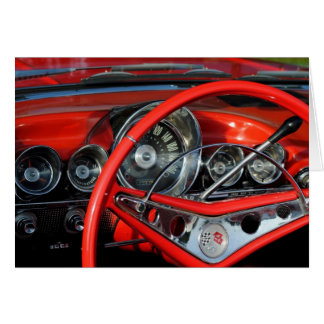 Steering wheel of the old timer greeting card