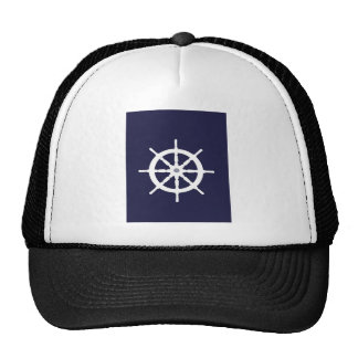 Steering wheel on navy blue background. cap