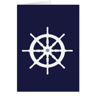 Steering wheel on navy blue background. card
