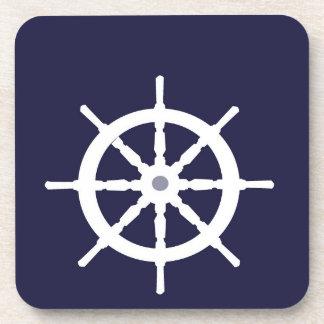 Steering wheel on navy blue background. coasters