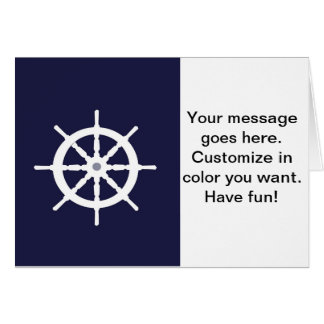 Steering wheel on navy blue background. greeting card