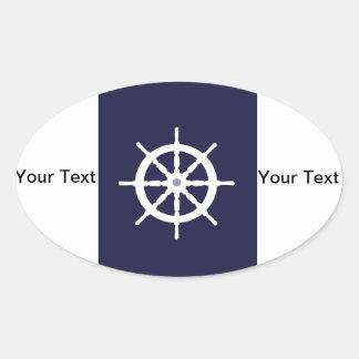 Steering wheel on navy blue background. oval sticker
