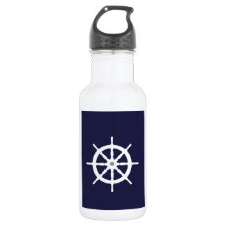 Steering wheel on navy blue background. 532 ml water bottle