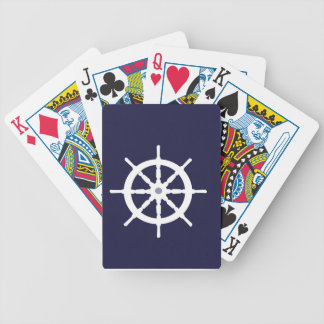 Steering wheel on navy blue background. bicycle card decks