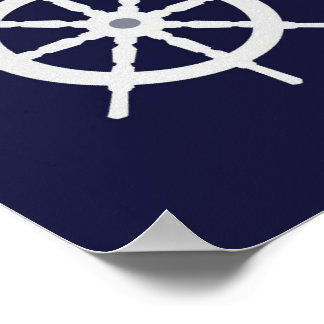 Steering wheel on navy blue background. poster