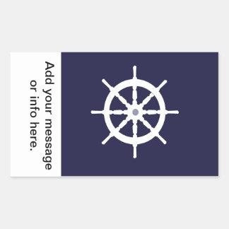 Steering wheel on navy blue background. rectangular sticker