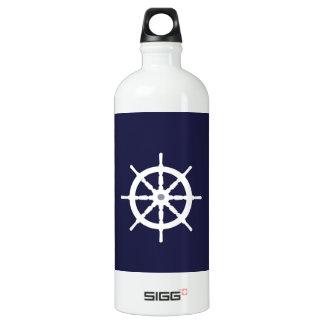 Steering wheel on navy blue background. SIGG traveller 1.0L water bottle