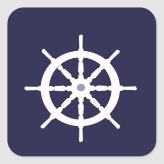 Steering wheel on navy blue background. square sticker