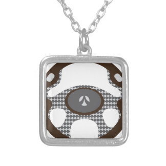 Steering Wheel Square Pendant Necklace