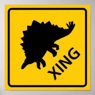 Stegosaur Crossing Highway Sign Dinosaur