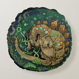 Stegosaurus Dinosaur Art Round Cushion