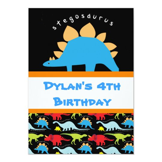 Stegosaurus Dinosaur Birthday Party Invitations