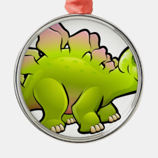 Stegosaurus Dinosaur Cartoon Character Silver-Colored Round Decoration