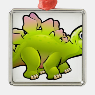 Stegosaurus Dinosaur Cartoon Character Silver-Colored Square Decoration