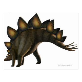 Stegosaurus dinosaur, computer artwork. postcard