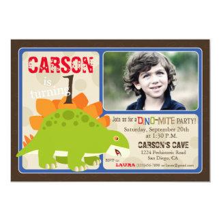 Stegosaurus Dinosaur First Birthday Invitation