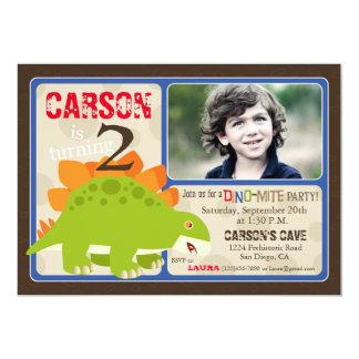 Stegosaurus Dinosaur Second Birthday Invitation