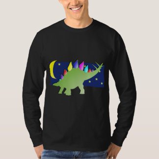 Stegosaurus in the night with moon and stars T-Shirt