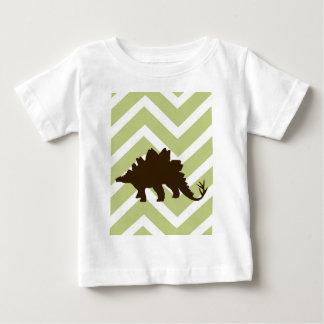 Stegosaurus on Chevron Zigzag - Green and White Tee Shirts