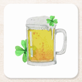Stein of Beer an Four Leaf Clovers Square Paper Coaster
