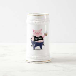 Stein  with funny pig picture 18 oz beer stein