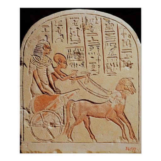 Stela depicting a scribe driving a chariot print