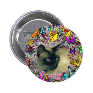 Stella in Butterflies Chocolate Point Siamese Cat Pins