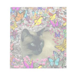Stella in Butterflies Chocolate Point Siamese Cat Scratch Pads
