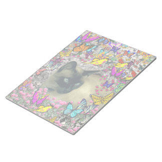 Stella in Butterflies Chocolate Point Siamese Cat Note Pad