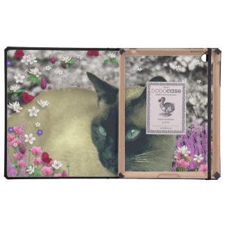 Stella in Flowers I, Chocolate & Cream Siamese Cat Case For iPad