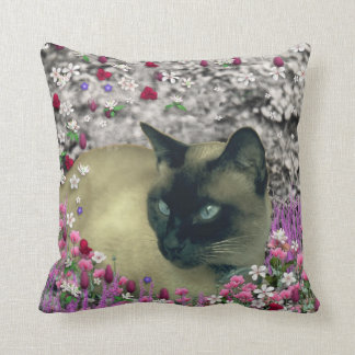 Stella in Flowers I – Chocolate Cream Siamese Cat Pillows