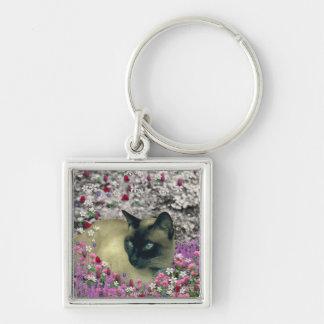 Stella in Flowers I – Chocolate Cream Siamese Cat Silver-Colored Square Key Ring