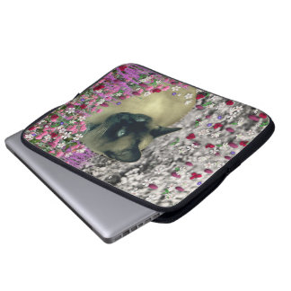 Stella in Flowers I – Chocolate Cream Siamese Cat Computer Sleeves