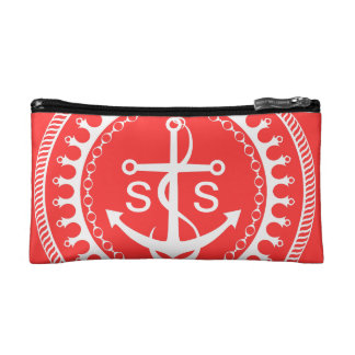 StellaRoot Anchor Down Pink Preppy Personalize Cosmetic Bags