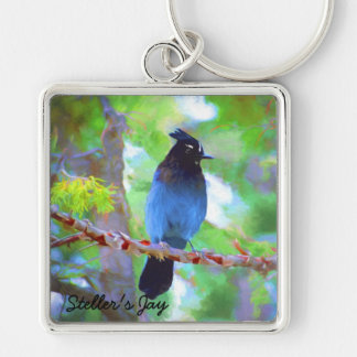 Steller's Jay Silver-Colored Square Key Ring