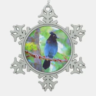Steller's Jay Snowflake Pewter Christmas Ornament