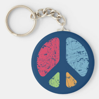 Stencil Peace Basic Round Button Key Ring