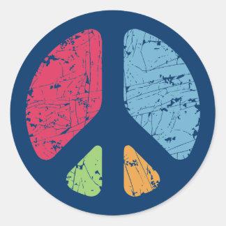 Stencil Peace Round Sticker