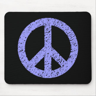 Stenciled Peace - Pastel Blue on Black Mouse Pad