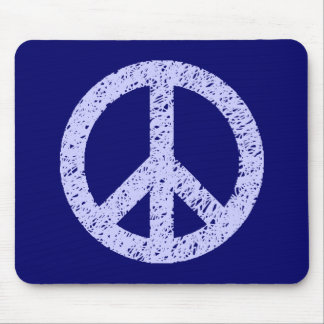 Stencilled Peace - Powder Blue on Deep Navy Mouse Pad