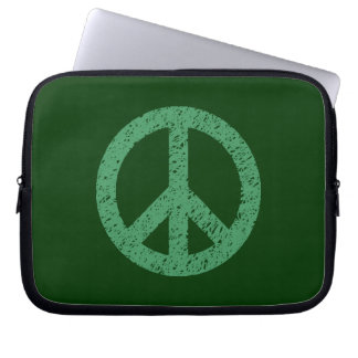 Stencilled Peace Symbol - Army Grn on Dk Grn Laptop Computer Sleeve