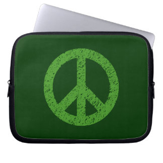 Stencilled Peace Symbol - Avocado Grn on Dk Grn Computer Sleeves