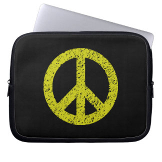 Stencilled Peace Symbol - Banana on Blk Laptop Computer Sleeves