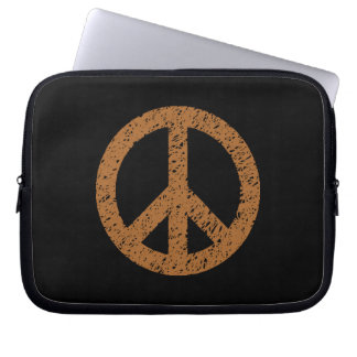 Stencilled Peace Symbol - Brown on Blk Laptop Computer Sleeve