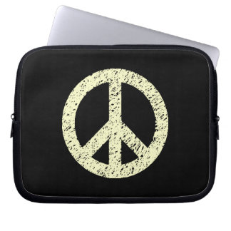 Stencilled Peace Symbol - Cream on Blk Laptop Sleeves