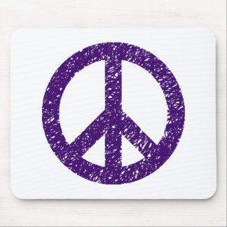Stencilled Peace Symbol - Dp Purple Mousepad