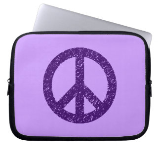 Stencilled Peace Symbol - Dp Purple on Lilac Computer Sleeve